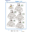 Imprimer la fiche pour colorier le bon nombre de bonbons Exercice 4 maternelle niveau 3