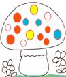 Exercice 5 pour colorier le bon nombre de points sur le champignon