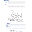 Imprimer l'exercice d'écriture sur le chien