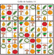 Sudoku pour la maternelle : grille 11 fruits et légumes