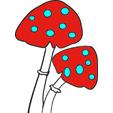 Imprimer les champignons pour le gâteau de fée
