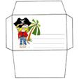 Imprimer l'enveloppe d'anniversaire pirate au pantalon rayé