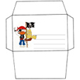 Imprimer l'enveloppe d'anniversaire pirate au drapeau pirate