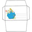 Imprimer l'enveloppe d'anniversaire de princesse modèle bleu 2