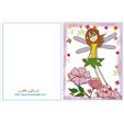 Carte anniversaire fée : la fée qui vole au dessus des roses