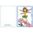 Carte anniversaire fée : la fée qui vole cadre bleu