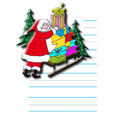 Papier à lettre avec le Père Noël et son traîneau