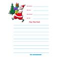 Modèle de lettre avec Père Noël portant les cadeaux