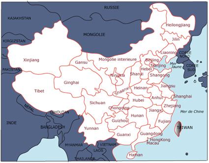 carte de chine et frontieres