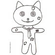 Coloriage du chat en patchwork