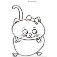 Coloriage du chat au ventre rond et au petit noeud