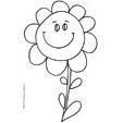 Imprimer le coloriage d'une grosse fleur au sourire