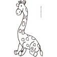 Coloriage de la girafe assise sur ses pattes arrières