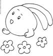 Coloriage du lapin boule aux oreilles couchées