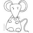 Coloriage de la petite souris assise