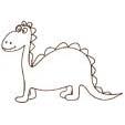 Coloriage d'un dinosaure à gros yeux