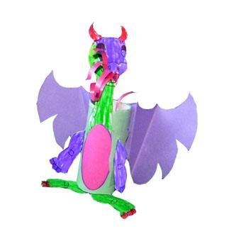 dragon réalisé avec un coloriage