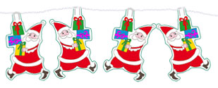 Coller les Pères Noël sur la guirlande