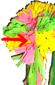 agrafer une grosse fleur de chaque côté de la couronne