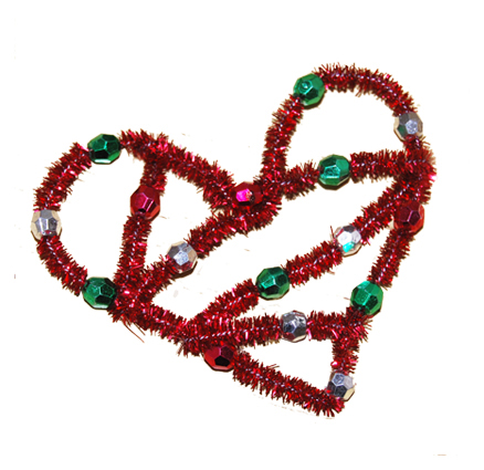 coeur en fil chenille