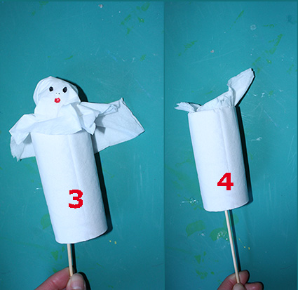 Fantome d 39 halloween marionnette halloween tete a modeler - Fabriquer un fantome halloween ...