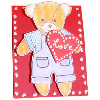 Carte nounours de saint Valentin