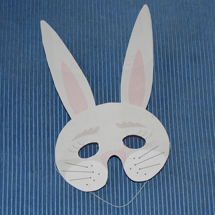 masque lapin blanc - masque sur tête à modeler