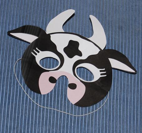 Masque vache noire et blanche masque sur t te modeler - Vache a imprimer ...