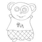 Coloriage du panda au pantalon losange