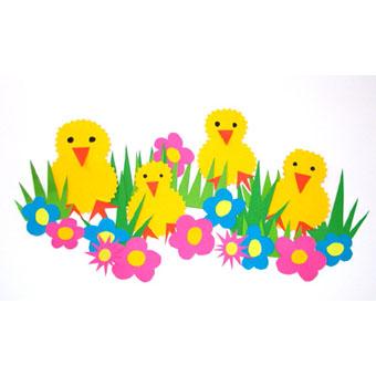 Collage de poussins Pâques