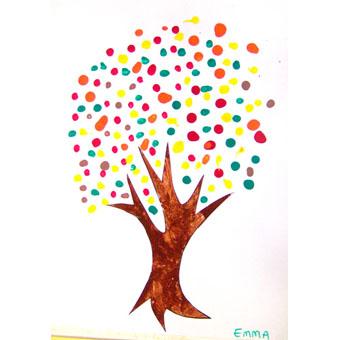 Peindre un arbre d'automne au coton tige
