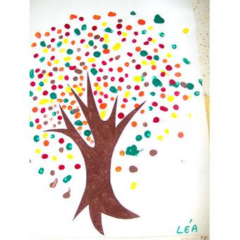 Peinture d'un arbre au coton-tige