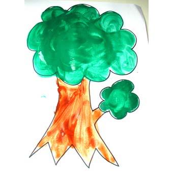 Peindre des arbres d'automne - modèle simple