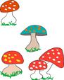 Graphisme sur les champignons d'automneet les cercles