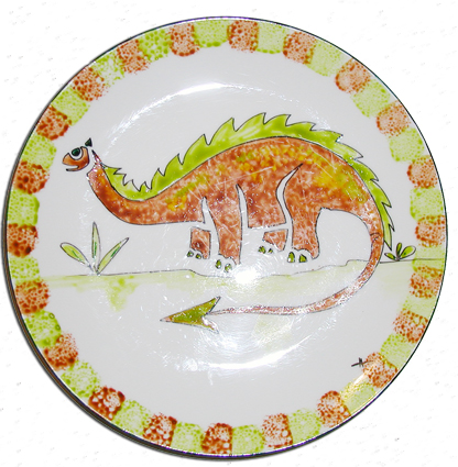 Assiette dinosaure peinte au pochoir