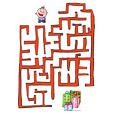 Imprimer le jeu du labyrinthe de Noel enfant et les cadeaux