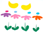 Poussins et fleurs à découper