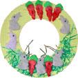 couronne de printemps décorée de lapins et de carottes