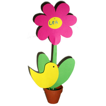 Porte nom fleur et poussin pour la décoration des tables