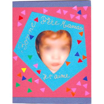 Carte de fête des mères toute simple décorée de gommettes - Tête à modeler