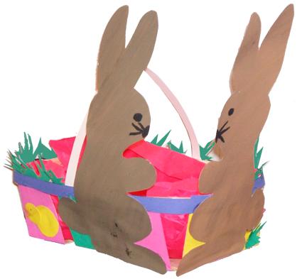 Corbeille de Pâques aux 2 lapins