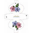 Imprimer le modèle de pochette à cadeau fleurs rose et bleue