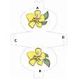 Imprimer le modèle de pochette à cadeau fleur jaune et feuille