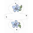 Imprimer le modèle de pochette à cadeau fleur bleue et feuille