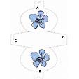 Imprimer le modèle de pochette à cadeau grosse fleur bleue