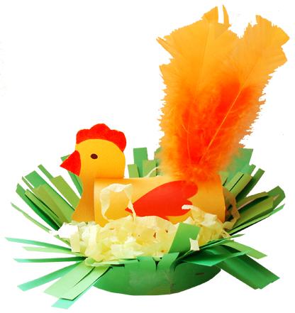 Poule de Pâques avec une queue de plumes dans son nid