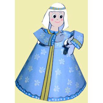 Marie, paper toy de Noël - crèche de Noël