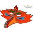 Masque bec d'oiseau orange et rouge
