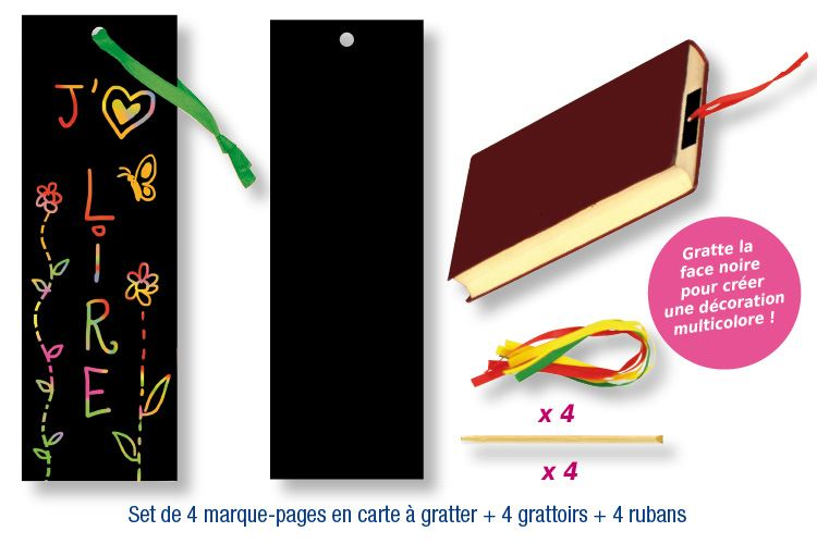 marque page rectangulaire en carte gratter cadeau t te modeler. Black Bedroom Furniture Sets. Home Design Ideas