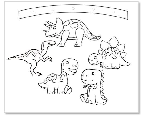 Mobile Dinosaures A Colorier Dinosaures Tete A Modeler